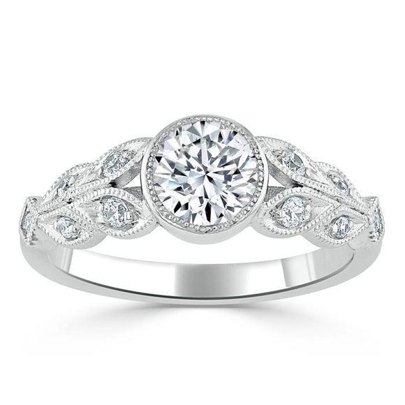 1.25ct Vintage Round Cut Moissanite Engagement Ring,  Available in White Gold, Platinum, Rose Gold or Yellow Gold