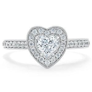 1.40ct  Heart Cut Moissanite Engagement Ring, Classic Halo,  Available in White Gold, Platinum, Rose Gold or Yellow Gold