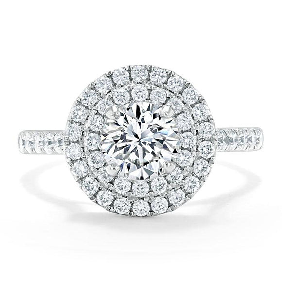 Lab-Diamond, Round Cut Double Halo Engagement Ring, Tiffany Style, Choose Your Stone Size and Metal