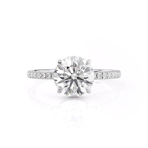 Round Cut Hidden Halo Moissanite Engagement Ring, Tiffany Style, Choose Your Stone Size and Metal