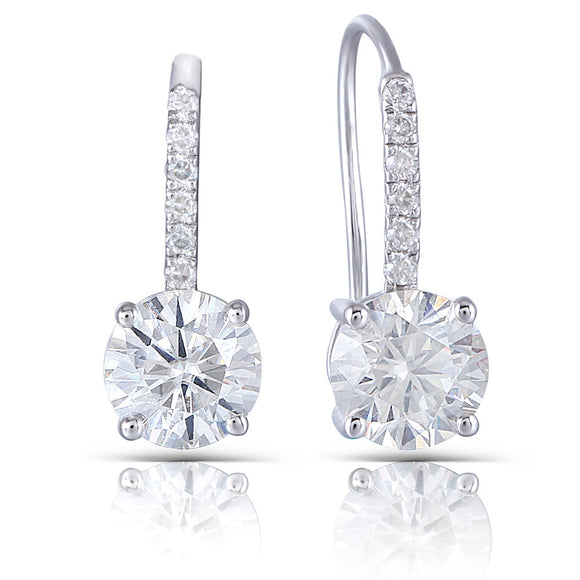Copy of 1.00ct each, Round Cut Moissanite Drop Earrings, Shepards Hook, 14Kt 585 White Gold