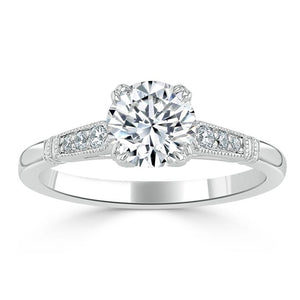 Lab-Diamond, Vintage Round Cut Engagement Ring, Choose Your Stone Size and Metal