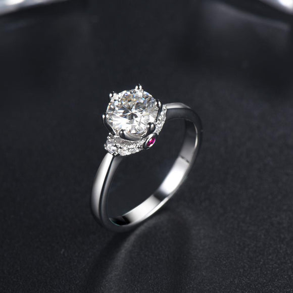 1.00ct Moissanite Engagement Ring, Classic Six Claw with Ruby, Sterling Silver & Platinum