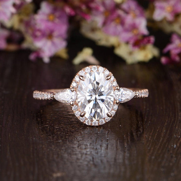 Oval Cut Moissanite Engagement Ring, Vintage Design, Choose Your Stone Size & Metal