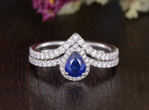 0.75ct Lab Created Blue Sapphire Ring Set, Art Deco Vintage Design, Pear Cut, Available In All Metal Types
