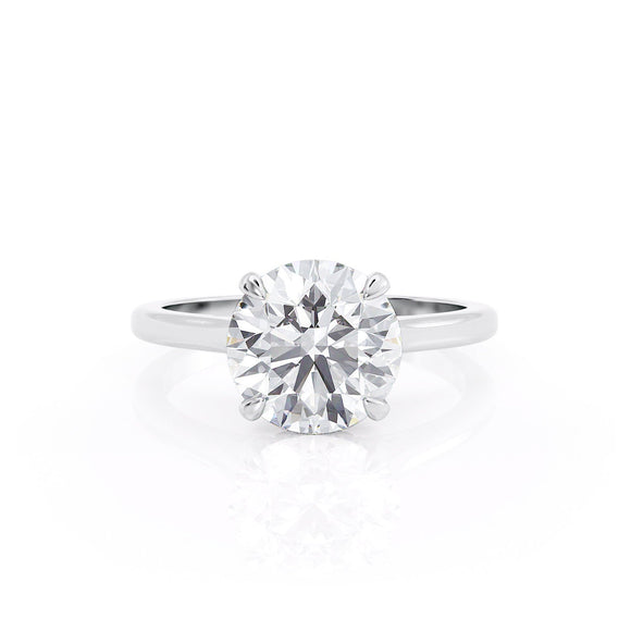 3.00ct Round Cut Moissanite, Classic Engagement Ring, Available in White Gold or Platinum