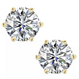 Classic Round Cut Diamond Stud Earrings, 925 Sterling Silver, Choose Your Stone Size and Metal