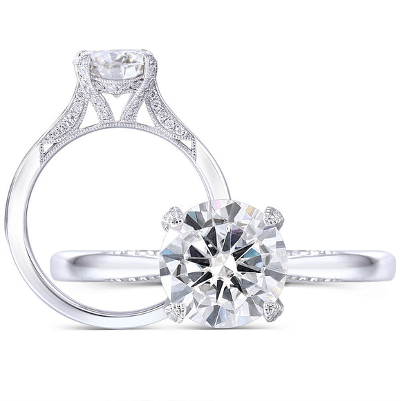 1.50ct Round Cut Moissanite Engagement Ring, Available in White Gold or Platinum