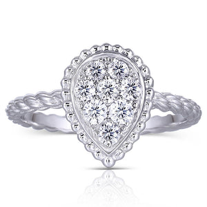 1.00ct Pear Cut Moissanite Cluster Engagement Ring, Available in White Gold or Platinum