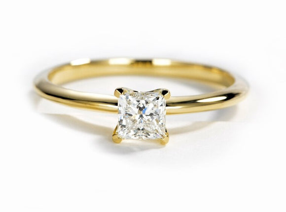 0.50ct Princess Cut Moissanite Engagement Ring, Vintage Design, Available in 14Kt or 18Kt Yellow Gold