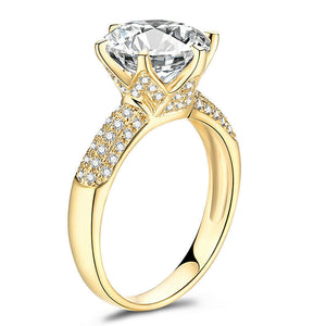 3.00ct Round Cut Moissanite, Classic Engagement Ring, Available in 14Kt or 18Kt Yellow Gold