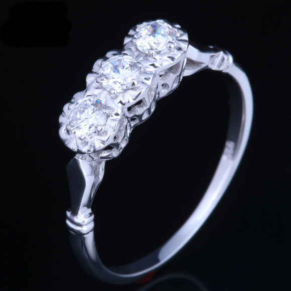 0.30ct Round Cut Moissanite 3 Stone Engagement Ring, Vintage Design, Available in 10Kt, 14Kt or 18kt White Gold