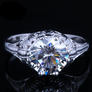 2.00ct Round Cut Moissanite Engagement Ring, Vintage Design, Available in 10Kt, 14Kt or 18kt White Gold
