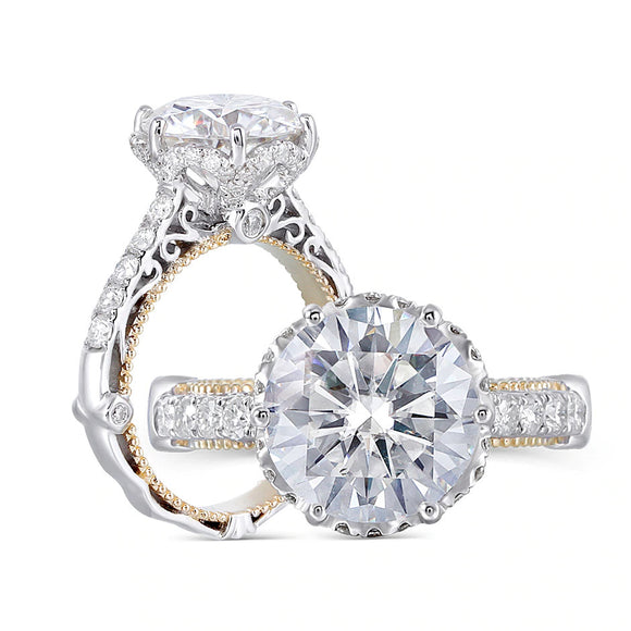 4.00ct Round Cut Moissanite Engagement Ring, Vintage Design, 14Kt 585 White & Yellow Gold