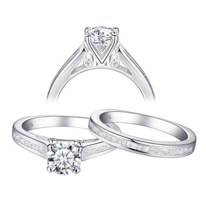 1.70ct Round Cut Diamond Ring Set, Bridal Rings, 925 Sterling Silver
