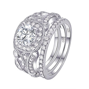2.20ct Vintage Round Cut Diamond Ring Set x 3 piece, 925 Sterling Silver