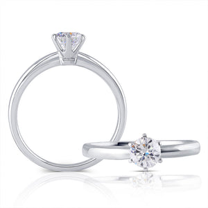 0.50ct Round Cut Moissanite, Classic Engagement Ring, Available in White Gold or Platinum