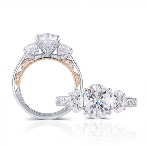 3.20ct Oval Cut Moissanite 3 Stone, Classic Engagement Ring, Available in White Gold or Platinum with Rose Gold Detailing