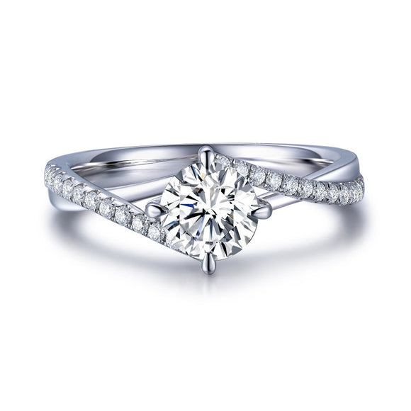 1.00ct Classic Round Cut Twist Moissanite Engagement Ring, Available in White Gold or Platinum
