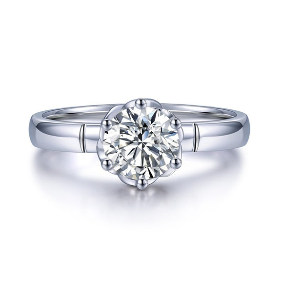 Lab-Diamond Classic Round Cut Engagement Ring, Choose Your Stone Size and Metal