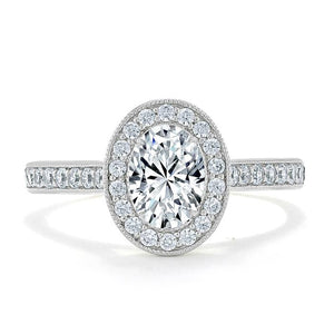 Lab-Diamond Oval Cut Halo Engagement Ring, Tiffany Style, Choose Your Stone Size and Metal