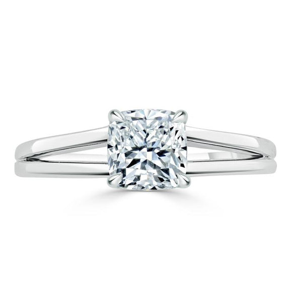 Lab-Diamond Cushion Cut Engagement Ring, Classic Style with Split Shank, Choose Your Stone Size and Metal