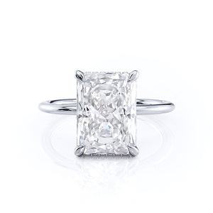 Radiant Cut Hidden Halo Moissanite Engagement Ring, Classic Style, Choose Your Stone Size and Metal