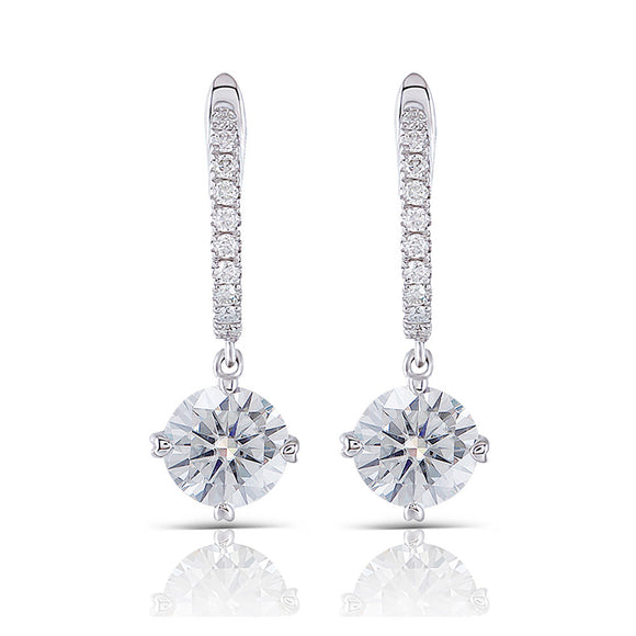 1.00ct each, Round Cut Moissanite Drop Earrings, Art Deco Design, 14Kt 585 White Gold