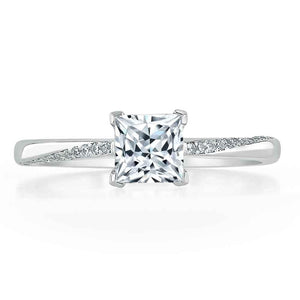 Lab-Diamond Princess Cut Engagement Ring, Classic Style, Choose Your Stone Size and Metal