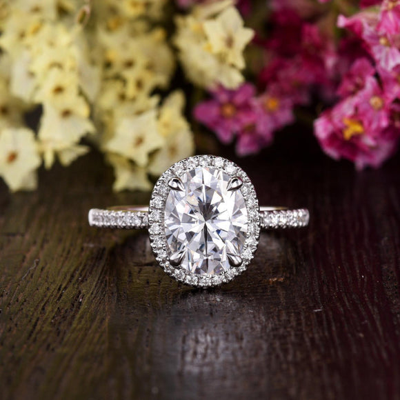 Oval Cut Moissanite Engagement Ring, Vintage Halo Design, Choose Your Stone Size & Metal