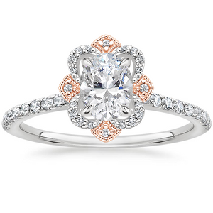 Vintage Oval Cut Moissanite Halo Engagement Ring, Available in White Gold or Platinum