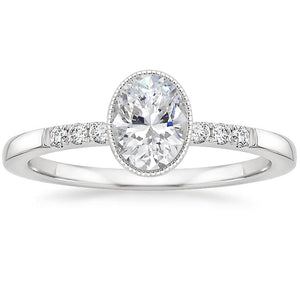 1.00ct Vintage Oval Cut Moissanite  Engagement Rin,  Available in White Gold, Platinum, Rose Gold or Yellow Gold