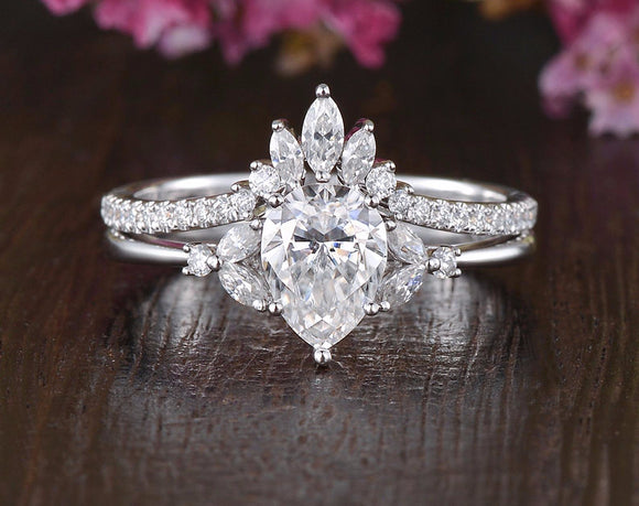 2.25ct Pear Cut Moissanite Ring Set, Side Stones with Shaped Band, Available in All Metals, 1.25ct Main Stone