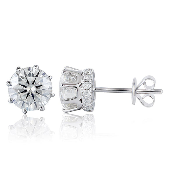 1.00ct each, Moissanite White Gold Stud Earrings, Round Cut, Vintage Design, 14Kt 585 White Gold