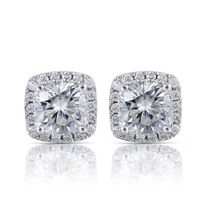1.00ct each, Cushion Cut Moissanite Halo Earrings, Art Deco Design, 14Kt 585 White Gold