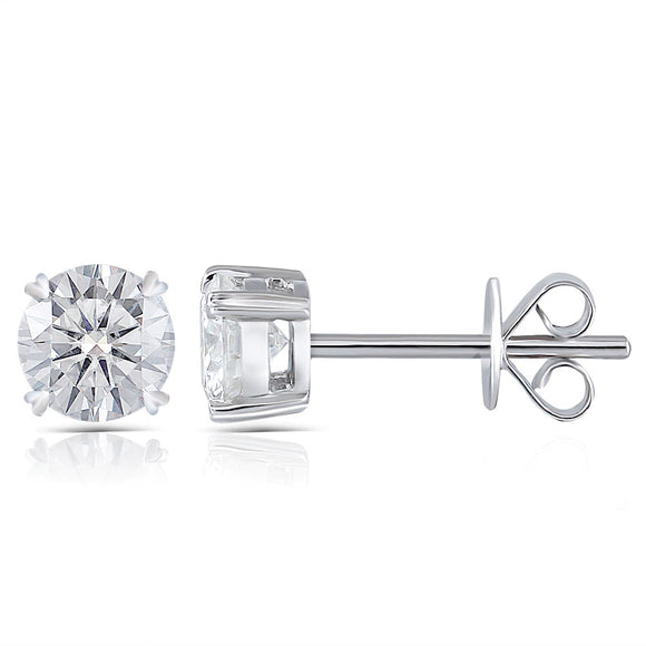 0.50ct each, Moissanite White Gold Stud Earrings, Round Cut, 14Kt 585 White Gold