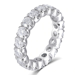 4.00ct White Gold Full Eternity Ring, Moissanite Wedding Band, Available in White Gold or Platinum