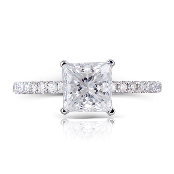 1.50ct Princess Cut Moissanite, Classic Engagement Ring, 14Kt 585 White Gold