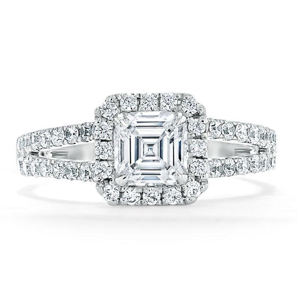 Lab-Diamond Asscher Cut Engagement Ring, Classic Halo with Split Shank, Choose Your Stone Size and Metal