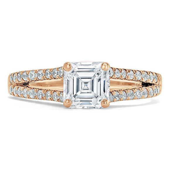 Lab-Diamond Asscher Cut Engagement Ring, Classic Style, Choose Your Stone Size and Metal