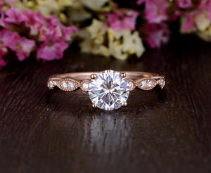 Round Cut Moissanite Engagement Ring, Unique Vintage Design, Choose Your Stone Size & Metal