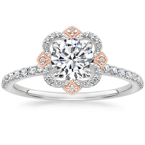Vintage Round Cut Moissanite Halo Engagement Ring, Available in White Gold or Platinum