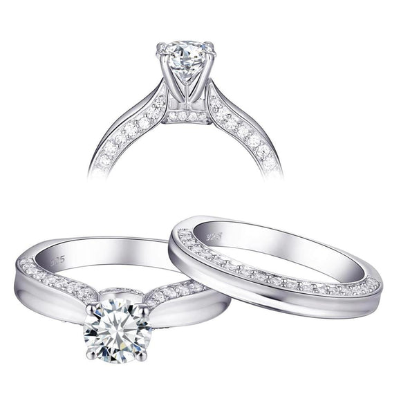 1.60ct Round Cut Diamond Ring, Bridal Ring Set, 925 Sterling Silver