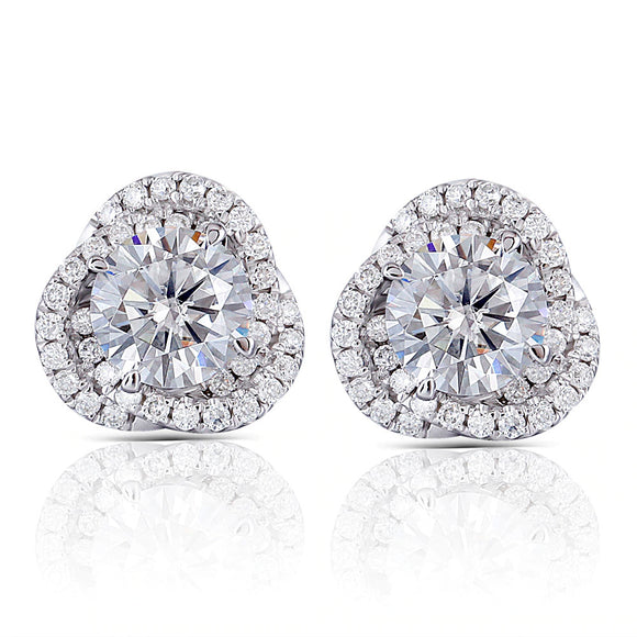 1.00ct each, Round Cut Moissanite Halo Earrings, Vintage Floral Design, 14Kt 585 White Gold