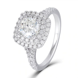1.00ct Cushion Cut Moissanite Double Halo Engagement Ring, Tiffany Style Mount, 14Kt 585 White Gold