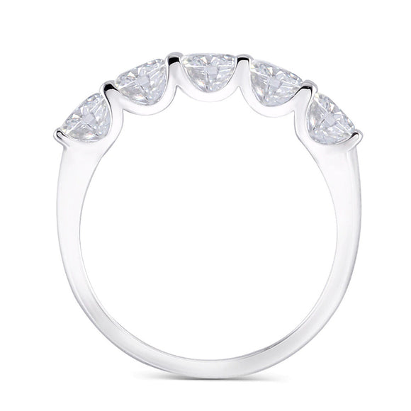 1.25ct Moissanite Wedding Band, Classic Tiffany Design, 5 Stone Ring, Available in White Gold Or Platinum