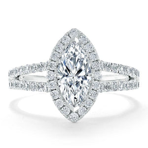 Lab-Diamond Marquise Cut Halo Engagement Ring, Tiffany Style, Choose Your Stone Size and Metal