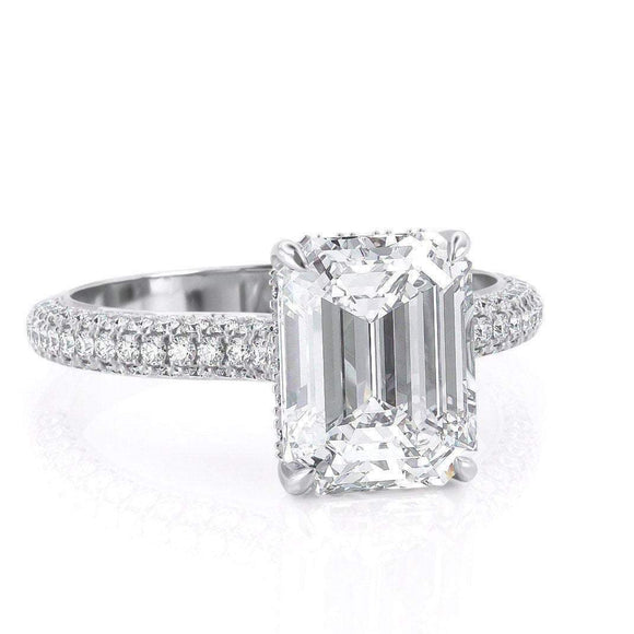 2.50ct Emerald Cut Moissanite, Classic Engagement Ring, Available in White Gold or Platinum