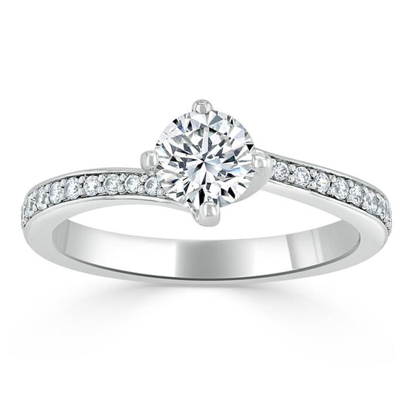 Lab-Diamond, Round Cut Twist Engagement Ring, Classic Style, Choose Your Stone Size and Metal