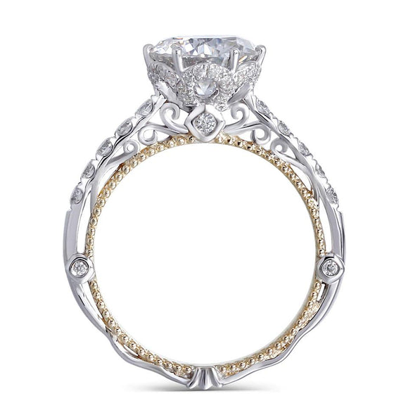 2.00ct Round Cut Moissanite Engagement Ring, Vintage Design, 14Kt 585 White Gold